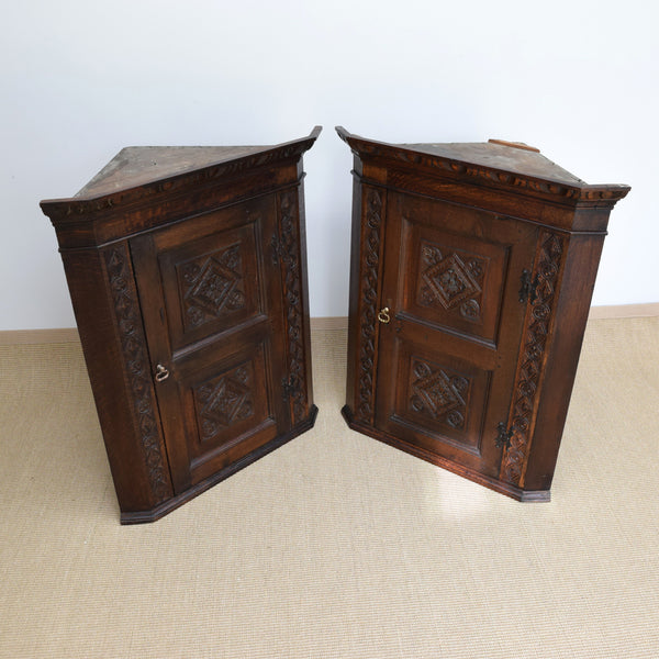 Pair of Antique Oak Corner Cupboards