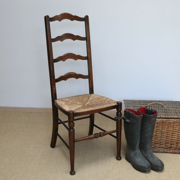 Victorian Country Kitchen Ladder Back Chair with Rush Seat