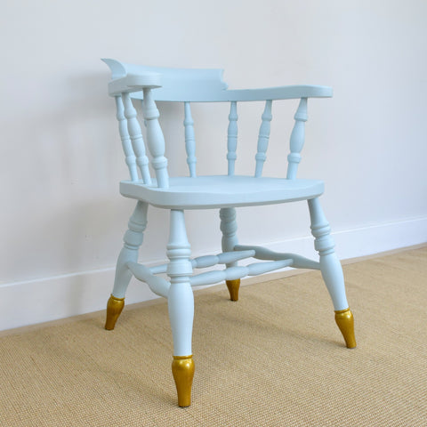 Vintage Blue & Gold Captain's Chair
