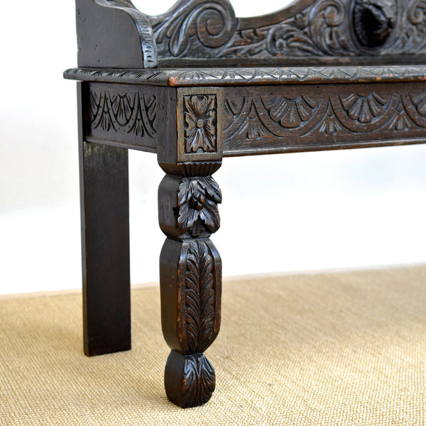 Vintage Carved Oak Hall Bench