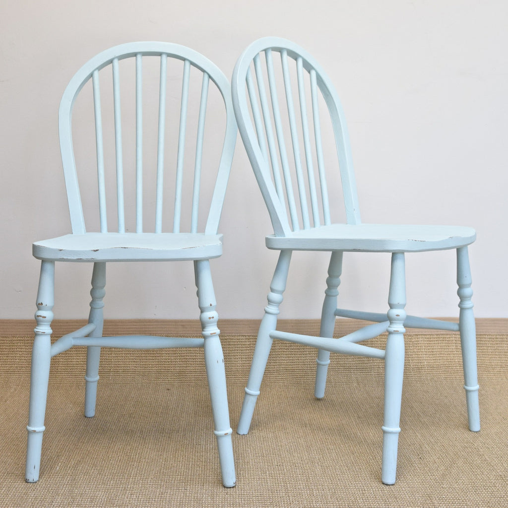 Pair of Shabby Chic Vintage Stick Back Kitchen Chairs