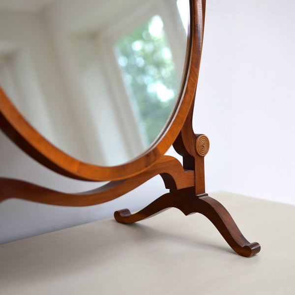 Vintage Burr Wood Oval Swing Mirror
