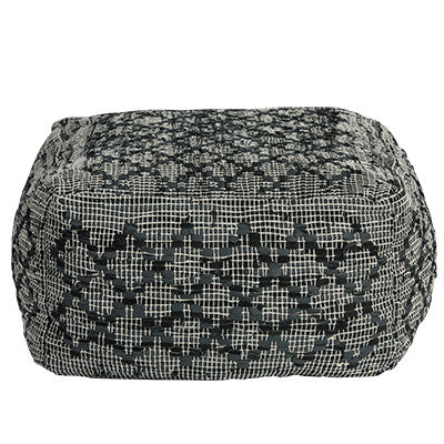 HARLEY OTTOMAN / COTTON + LEATHER