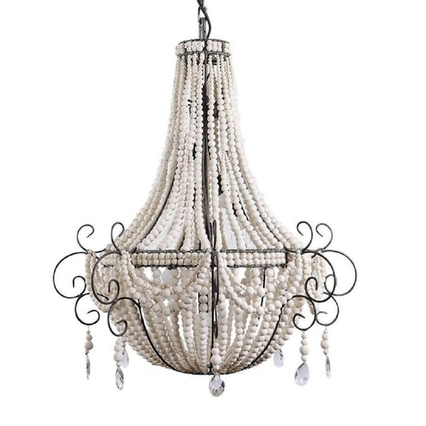 Twist White / Handmade Clay Beaded Chandelier