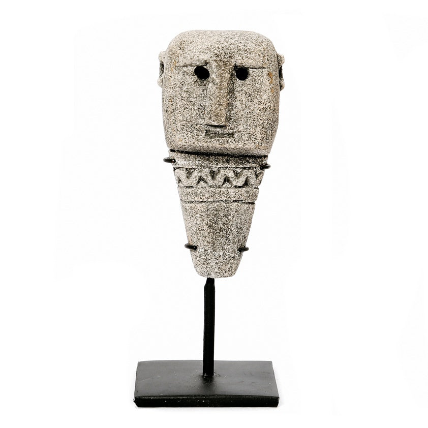 SUMBA STONE STATUE #10 ON STAND / GREY
