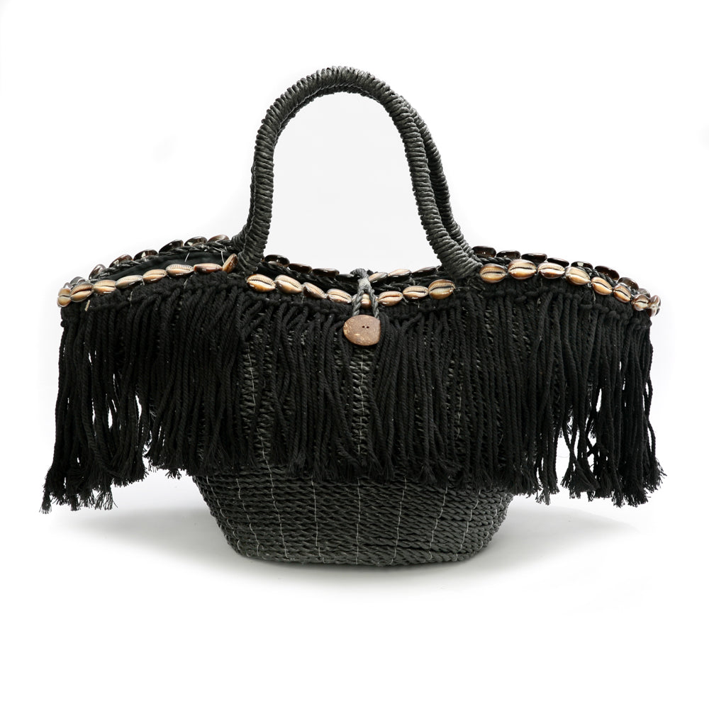 FRINGE MACRAME BEACH BAG - BASKET / BLACK