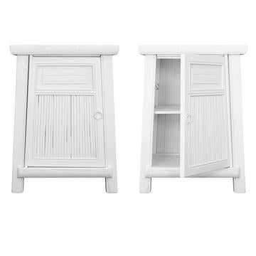 BAMBOO (BED)SIDE TABLE SET / WHITE (MATCHING PAIR - LEFT & RIGHT)