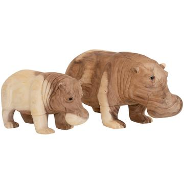 HANDCARVED HIPPO SCULPTURES | NATURAL (2 SIZES)