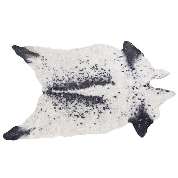 Natural 100% Organic Pure Wool Cow Rug / Black + White (LEATHER FREE)