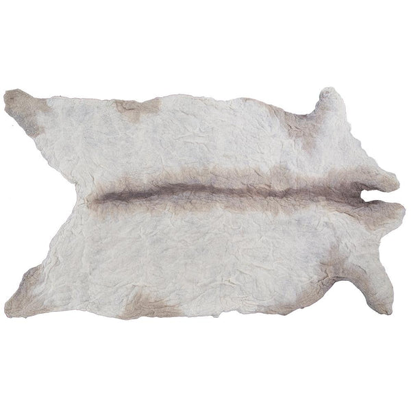 Natural 100% Organic Pure Wool Cow Rug / Beige + White (LEATHER FREE)