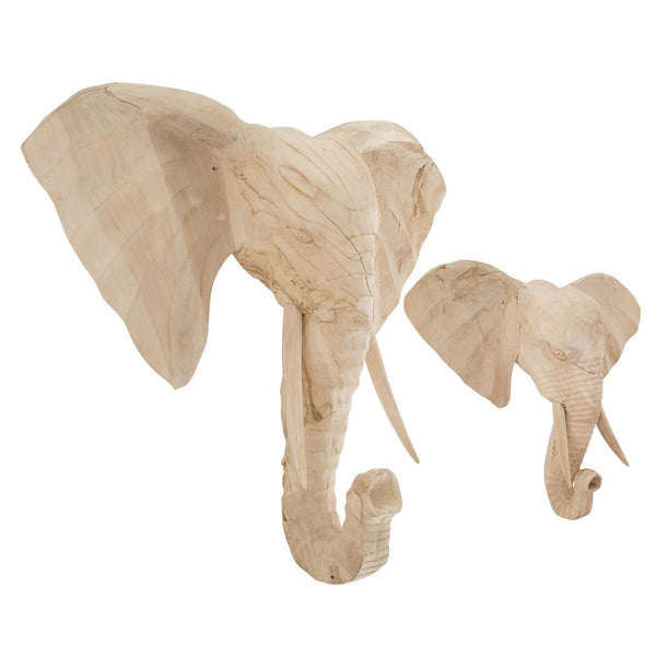 HAND-CARVED ELEPHANT WALL ART | BLEACHED (2 SIZES)