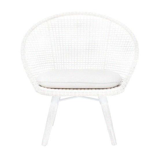 CUBA ROUND LOUNGE CHAIR / WHITE (INDOOR-OUTDOOR)