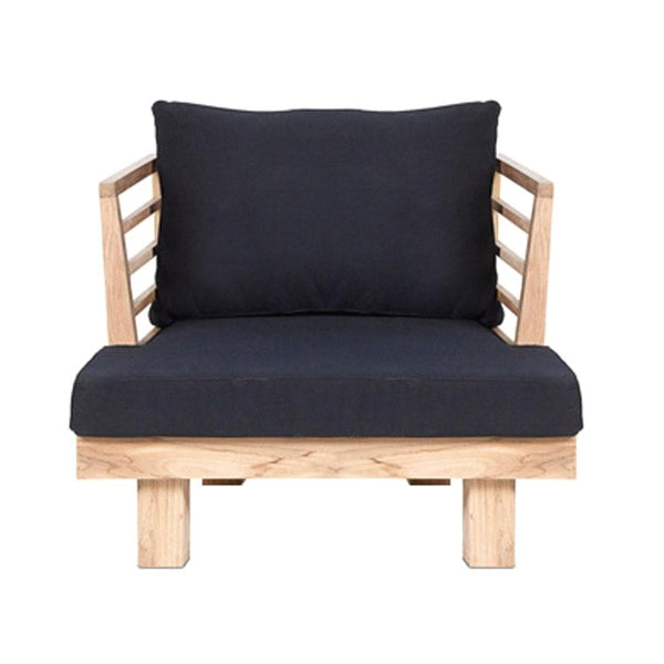 STRIPE LOUNGE CHAIR / NATURAL + BLACK (INDOOR-OUTDOOR)