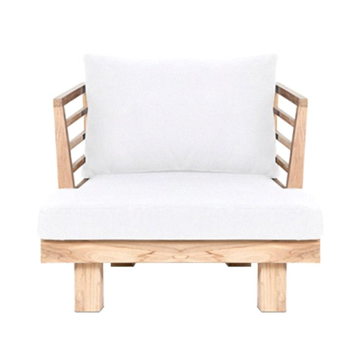 STRIPE LOUNGE CHAIR / NATURAL + WHITE (INDOOR-OUTDOOR)