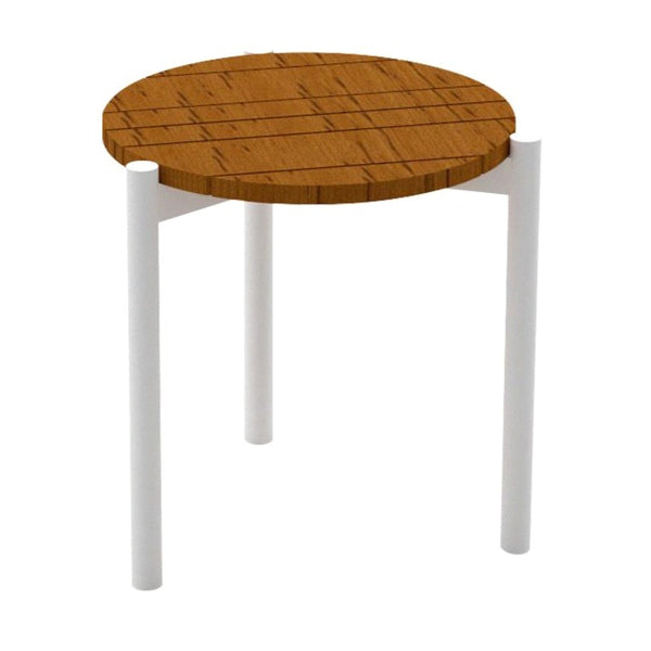 BANYAN TEAK SIDE TABLE / WHITE FRAME (INDOOR-OUTDOOR)