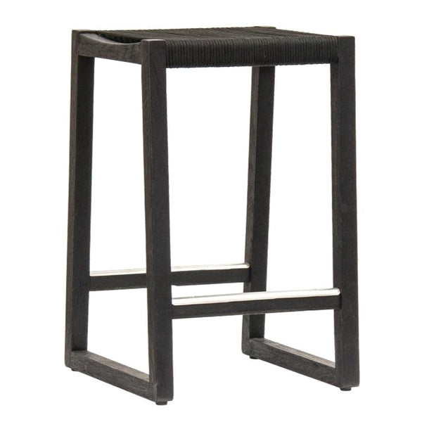 RODOS BAR STOOL / BLACK ROPE + BLACK ECO TEAK