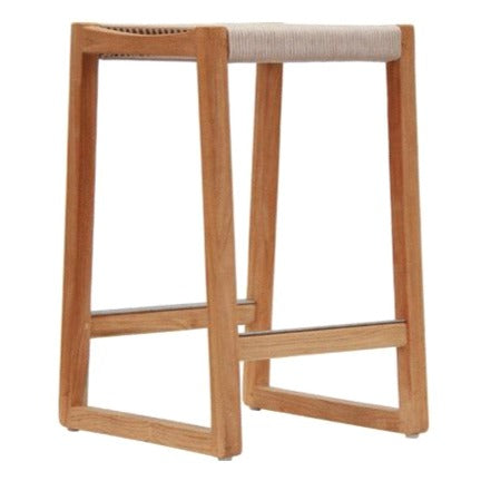 RODOS BAR STOOL / NATURAL ROPE + ECO TEAK