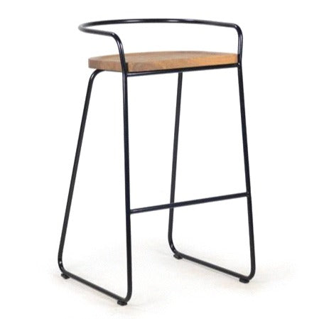 POTATO KITCHEN STOOL / OAK + BLACK LEGS