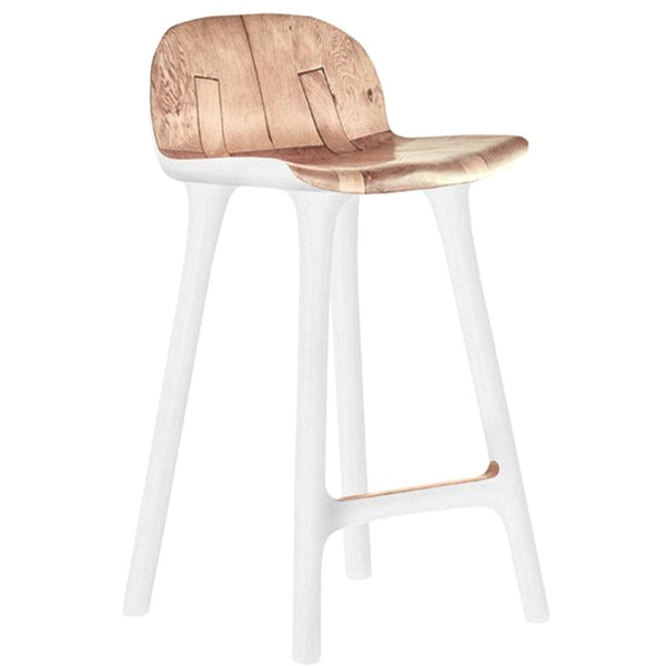 TAILORED KITCHEN STOOL / WHITE + MAHOGANY