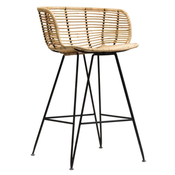 ANNA BAR STOOL / RATTAN + BLACK FRAME