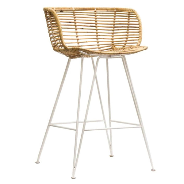 ANNA BAR STOOL / RATTAN + WHITE FRAME