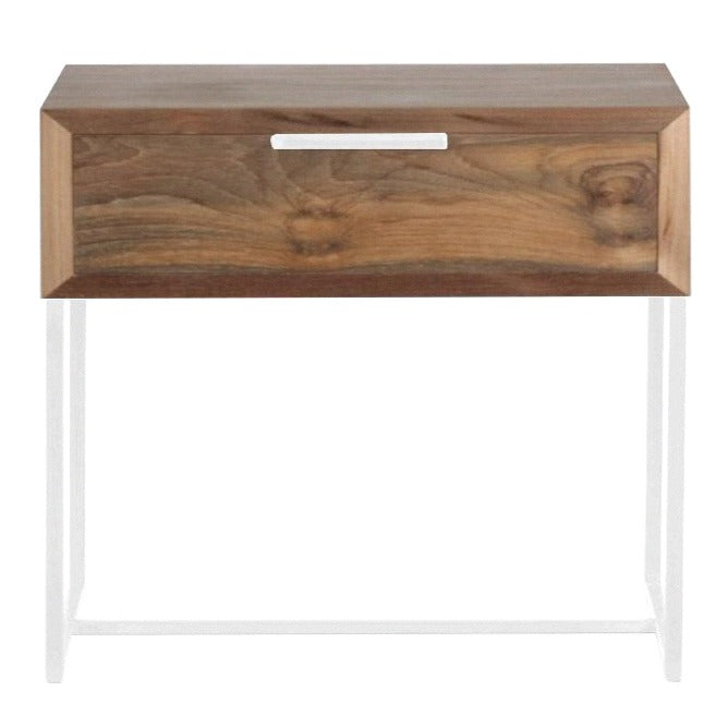 NOAH LARGE (BED)SIDE TABLE / RECYCLED TEAK + WHITE FRAME