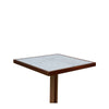 BOATHOUSE CAFÉ TABLE / WHITE CARRARA MARBLE + BRASS + OAK