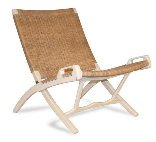 ROXY LOUNGE FOLDING CHAIR / WHITE + NATURAL