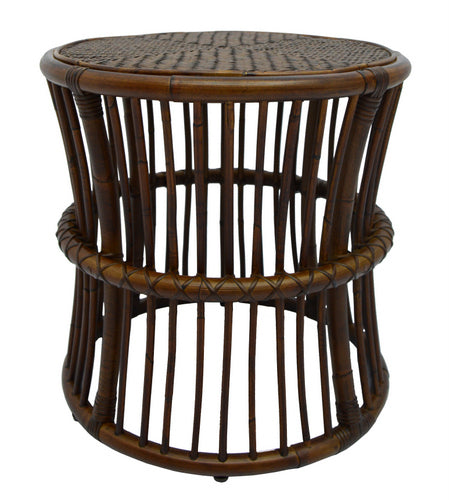 ANNA SIDE TABLE / ANTIQUE BROWN RATTAN