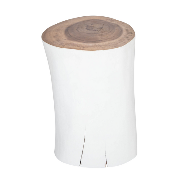 Log Side Table + Stool | White
