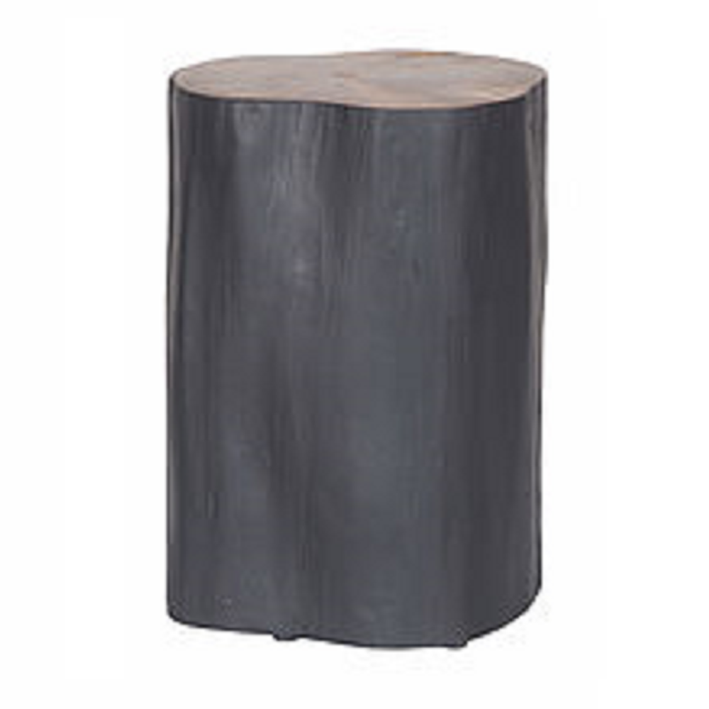 Log Side Table + Stool | Black
