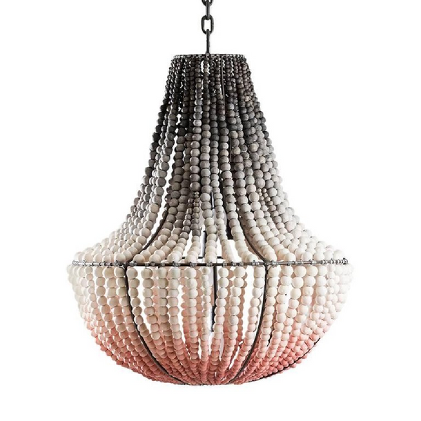 LIM Blush Pink Ombre / Handmade Clay Beaded Chandelier
