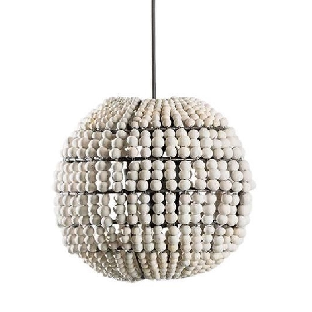 Sphere White / Handmade Clay Beaded Chandelier