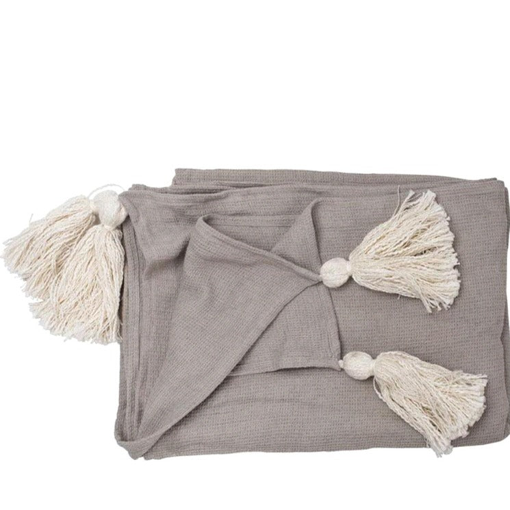 CIALDA LINEN THROW / SILVER GREY