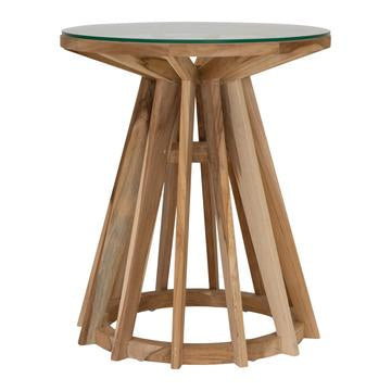 TUNDI SIDE TABLE w/GLASS TOP | NATURAL