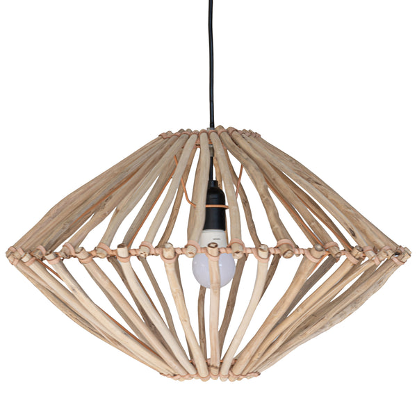 TUULI PENDANT LIGHT | TEAK + LEATHER