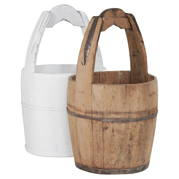 VINTAGE WOODEN BUCKET / NATURAL