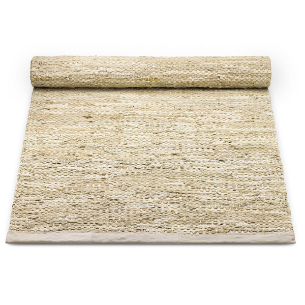 Leather Remnants Rug | Beige