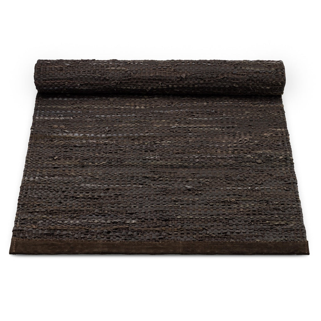 Leather Remnants Rug | Chocolate