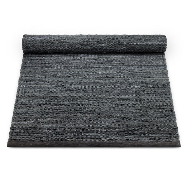 Leather Remnants Rug | Dark Grey