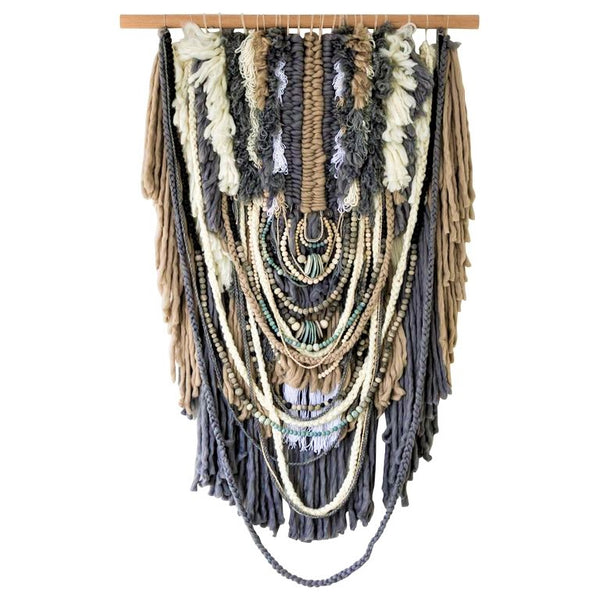 XL Custom Handmade Wallhanging / African Clay Beads + Wool and Yarn