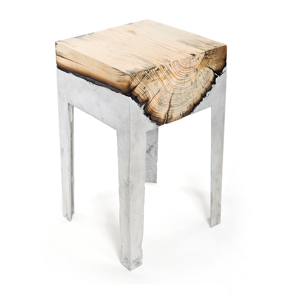 Wood Casting Side Table / Cypress or Eucalyptus