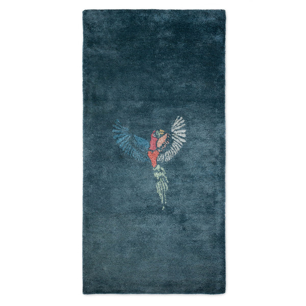 BAMBOO SILK RUG / JUNGLE PARROT / 10% TO ANIMAL PROTECTION CHARITY