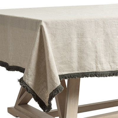 PATINA LINEN FRINGE TABLECLOTH / NATURAL