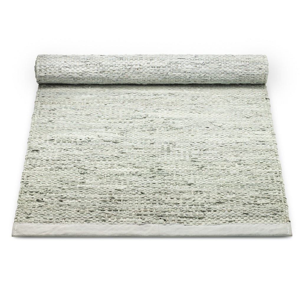 Leather Remnants Rug | Limestone