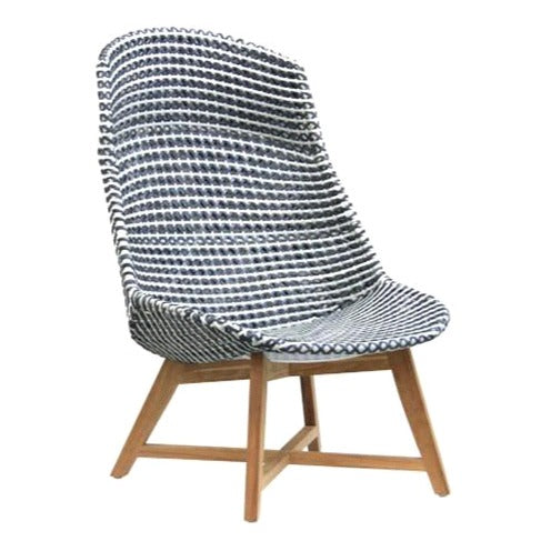 SKAL HIGH-BACK LOUNGE CHAIR / BLACK + WHITE (INDOOR-OUTDOOR)