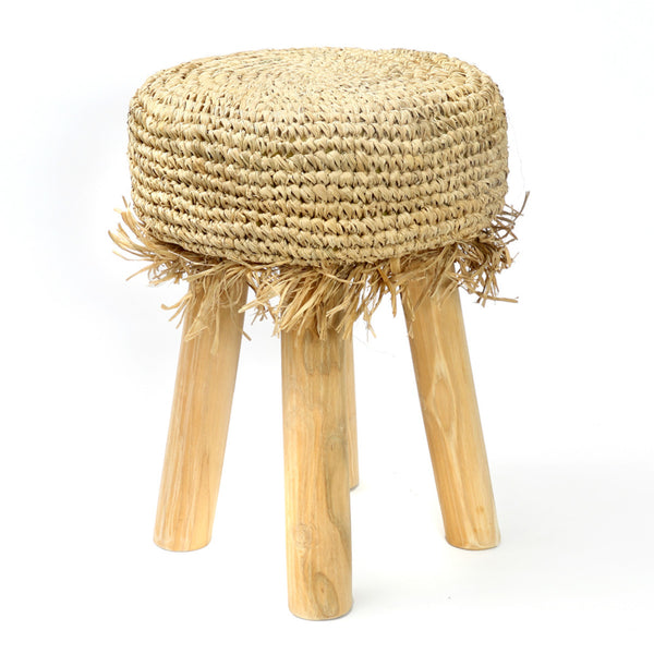 RAFFIA FRINGE STOOL / NATURAL