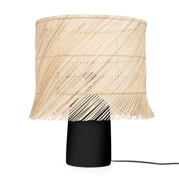 RATTAN TABLE LAMP / BLACK NATURAL