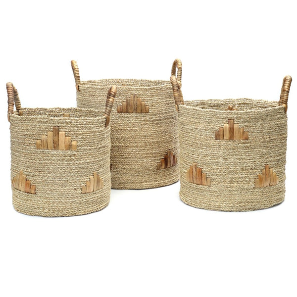 TWIGGY GRAPHIC BASKETS (SET OF 3) / NATURAL