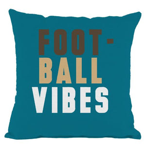 Dark Teal Football Vibes Throw Pillow